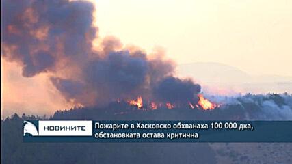 Пожарите в Хасковско обхванаха 100 000 дка, обстановката остава критична