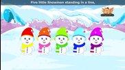 Пет малки снежни човечета - ( Английска детска песничка)