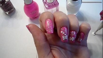 Hot Pink, Mega Sparkles, White Bow Ties Nail Art Design