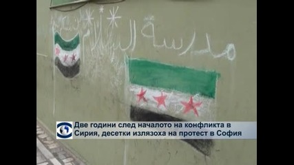 Две години след началото на конфликта в Сирия  десетки излязоха на протест в София