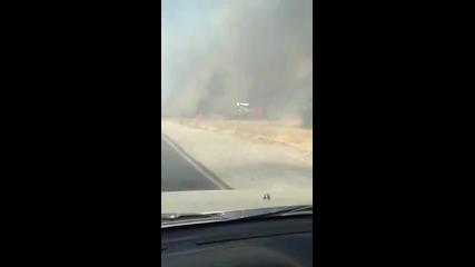 Голям пожар край главен път Е-79