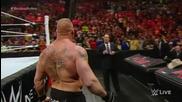 Seth Rollins отказа да се бие с Brock Lesnar за титлата (brock полудя и преби всички) - 30.03.15