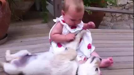 Малко кученце се радва на малко бебе:):)