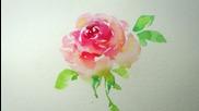 Рисуване на роза с акварел