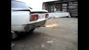 Lada With Flaming Exaust