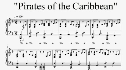 Pirates of the Caribbean - He's a Pirate (piano sheet music)