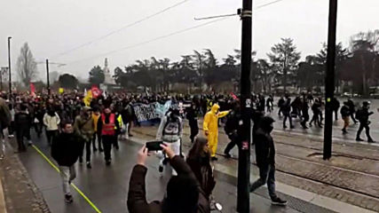 France: Tear gas billows during pension reform protest in Nantes