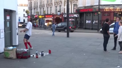 070.amazing Trick Football Skills demonstrated by Hristo Petkov on Camden Market High Street, London