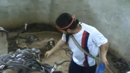 На това му се казва да нямаш страх от змии