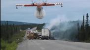 Един от начините да се потуши пожар, когато няма хидрант наблизо!