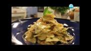 Червено кадифе, макаронена салата, кръмбъл от зеленчуци, дробчета с чушки. - Бон Апети (01.03.2013)