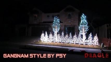 Коледна украса на къща в стил Gangnam Style