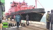 Russia: Dalniy Vostok survivors arrive at Korsakov port in Sakhalin