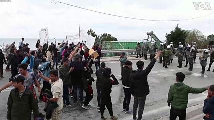 Ехтят взривове: Хиляди бежанци громят и опожаряват остров Лесбос в Гърция!-3.2.2020