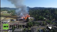 САЩ: Дрон заснема огромни пламъци, обхванали исторически стадион в Орегон