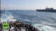 Japan: Prime Minister Abe presides over show of naval strength