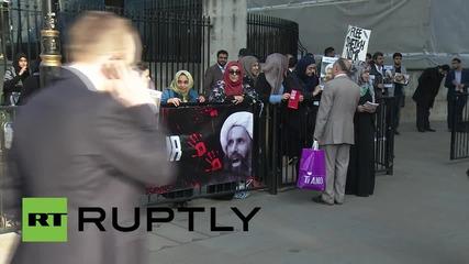 Протести в Лондон пред саудитското посолство за освобождение на Ал Нимр