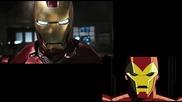 Сравнение между филма Отмъстителите (2012) и анимацията Отмъстителите: Най-могъщите герои на Земята