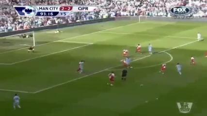 Попадението , с което Манчестър Сити спечели Висшата Лига [луд коментатор] !!!