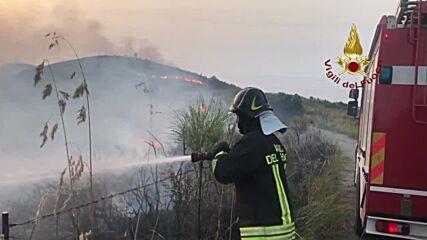Italy: Firefighters battle multiple blazes outside Palermo