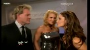 Trish Stratus, Beth Phoenix and Chris Jericho Backstage