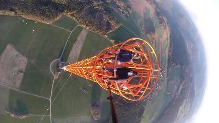 Изкачване на 363 метрова Радио кула в Donebach Germany