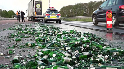 Germany: Lorry drops hundreds of beer bottles causing major traffic jam on motorway