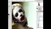 photoshopped zombie make up on scarlet johanson