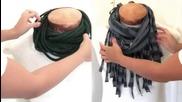 Два начина да си направим сами ефектни шалове-яки от стари тениски