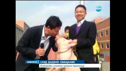 Учител целуна прасе, за да изпълни дадено обещание - Новините на Нова