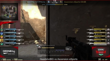 CSGO - ESL Национален Шампионат PD4 -HeadshotBG vs Ascension eSports игра 1 (de_mirage)