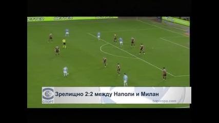 "Зрелищно 2:2 между ""Наполи"" и ""Милан"""