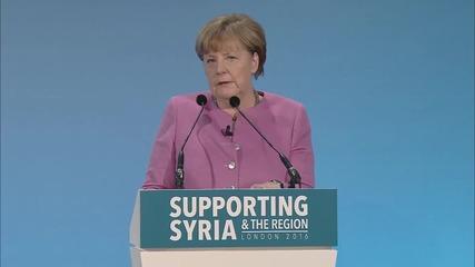 UK: Merkel announces €2.3 billion aid package for Syrian crisis