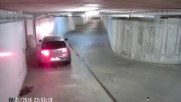 Пиян малоумник реши да изкара колата си от подземния гараж…