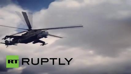 Syria: Mil Mi-24 helicopters patrol Hmeymin Air Base