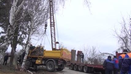 Два камиона се удариха челно край Разград