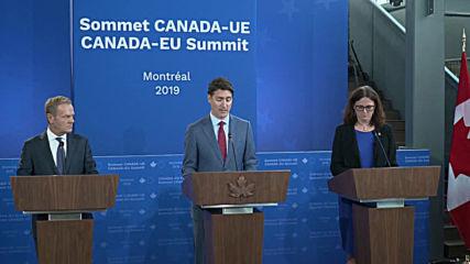 Canada: 'I didn't hear anyone shouting send him back' says Tusk at EU-Canada summit