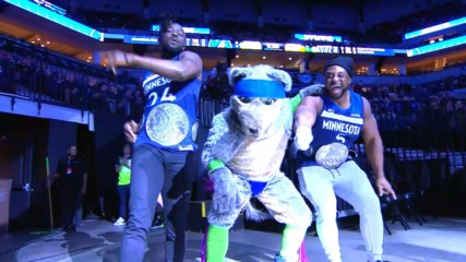 The New Day team up with Minnesota Timberwolves mascot CRUNCH