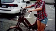 Fail! girl flips moped