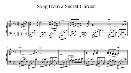 """Song from a Secret Garden"" - Piano sheet music (by Tatiana Hyusein)"