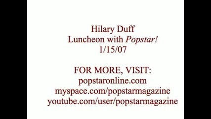 Popstar Chats With Hilary Duff