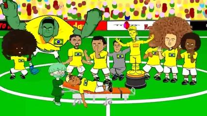 Смешна Анимация за световното: Колумбия 0 - 1 Бразилия ( Гола на Давид Луиз )