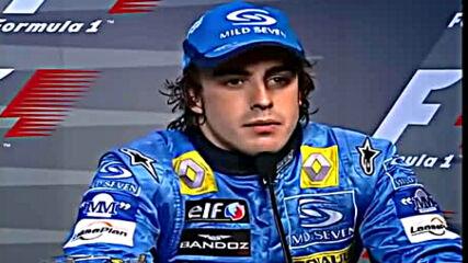 Фернандо Алонсо Празнува Спечелването На Първата Си Световна Титла Във Формула 1 ( Бразилия 2005)