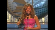 Beyonce accepting the Grammy for Best Contemporary R&b Album at the 46th Grammy Awards