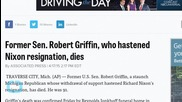 Former Sen. Griffin, Who Hastened Nixon Resignation, Dies