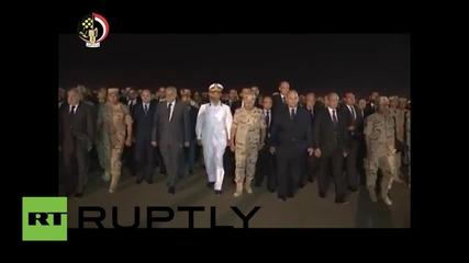 Министър-председателят на Египет на погребението на тримата застреляни съдии