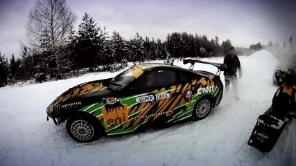 Зверски дрифт с Toyota Supra на сняг