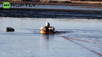 Faithful Dog Rescues Owner Stuck Waist Deep in Mud