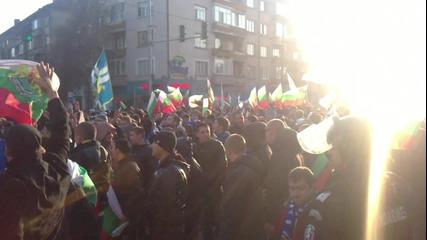 Синьо шествие 26.02.2011 кръстовището на Мадрид и Черковна