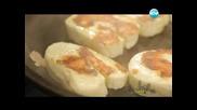 Тарт с маскарпоне и рикота,салата от леща и халуми,ориз със сирена и маслини на тиган - Бон Апети
